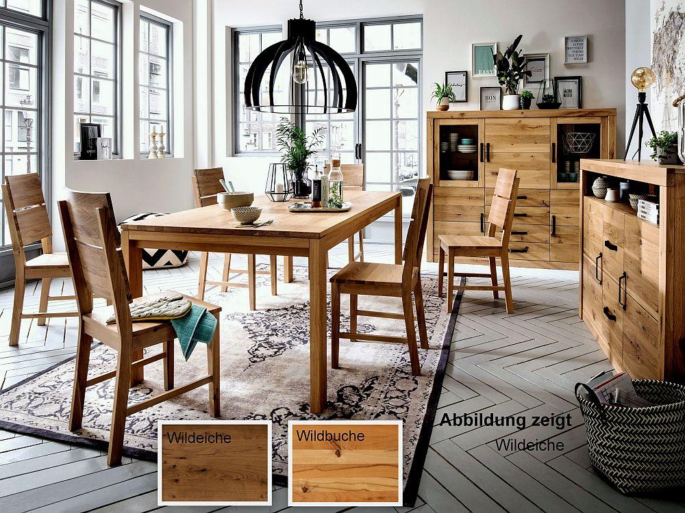 Massivholz Tischgruppe 180x90 7 Tlg Set Tisch Und Stühle Holz Geölt