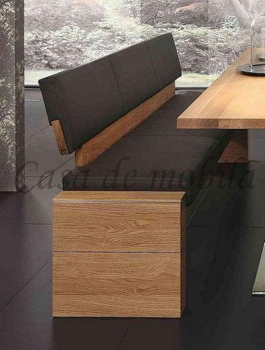 Massivholz Sitzbank Rückenlehne 160 Asteiche Leder anthrazit – Bild 2