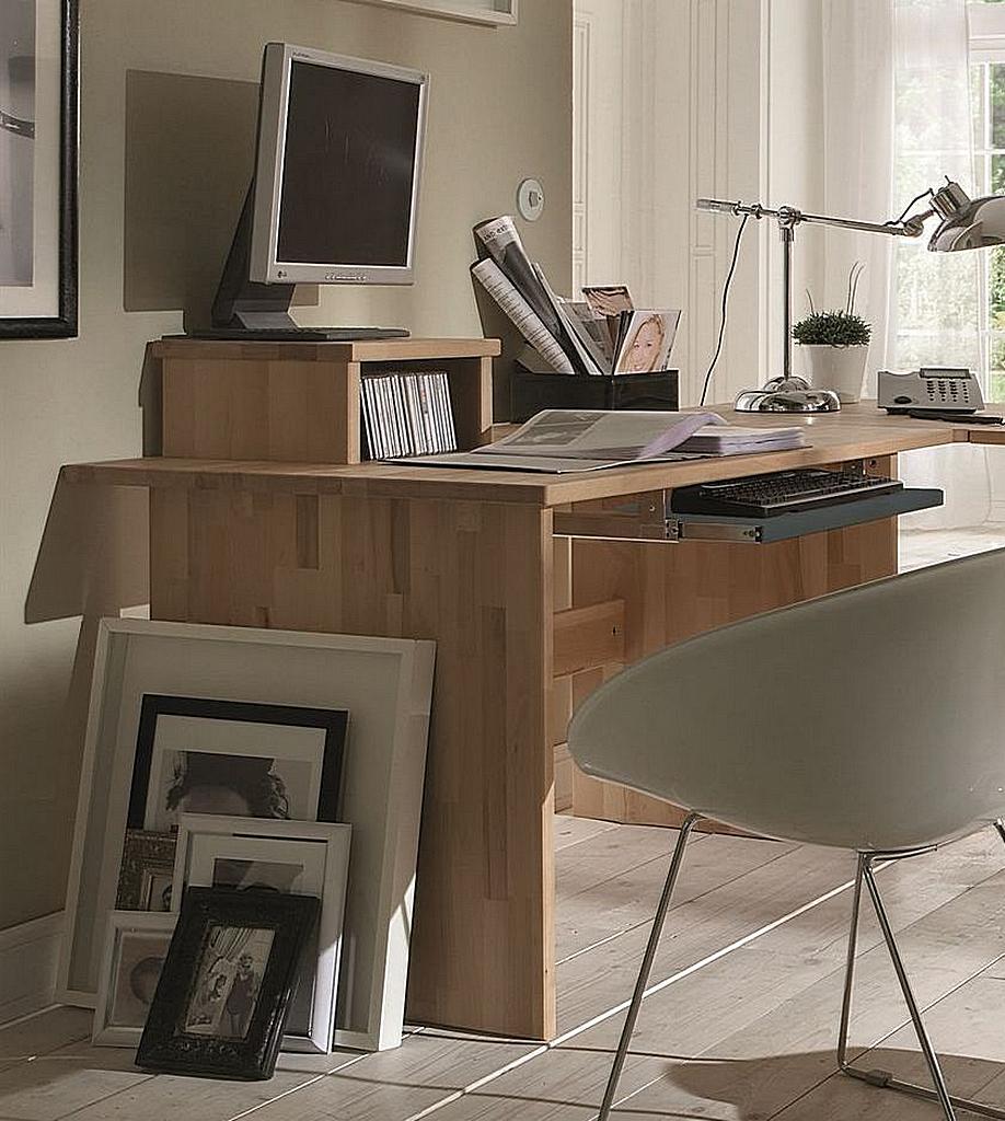 Schreibtisch 125cm Massivholz Bürotisch Buche Eiche geölt – Bild 2