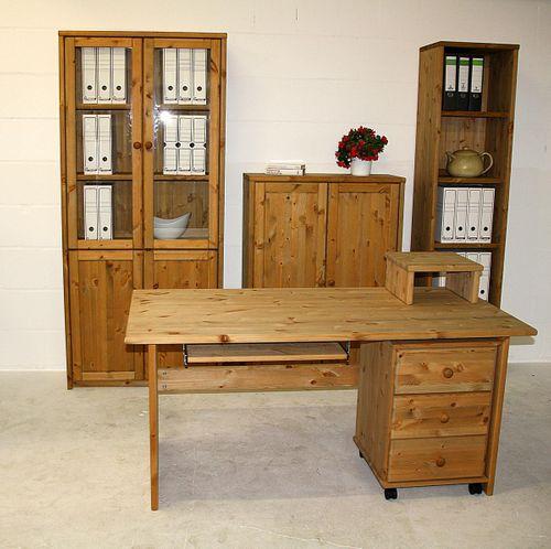 Schreibtisch 160cm mit Rollcontainer Kiefer massiv gelaugt geölt – Bild 7