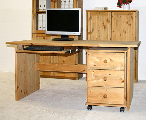 Schreibtisch 160cm mit Rollcontainer Kiefer massiv gelaugt geölt – Bild 1