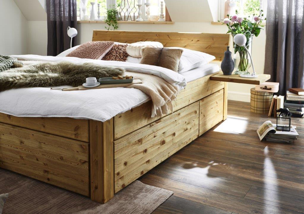 massivholzbett mit schubladen 180x200 45cm kiefer gel kopfteil 1teilig. Black Bedroom Furniture Sets. Home Design Ideas