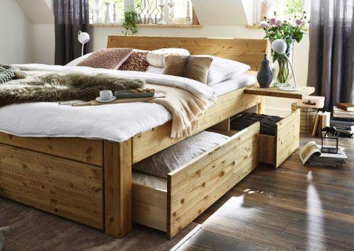 Massivholz Schubladenbett 200x200  Kiefer gel.   – Bild 1