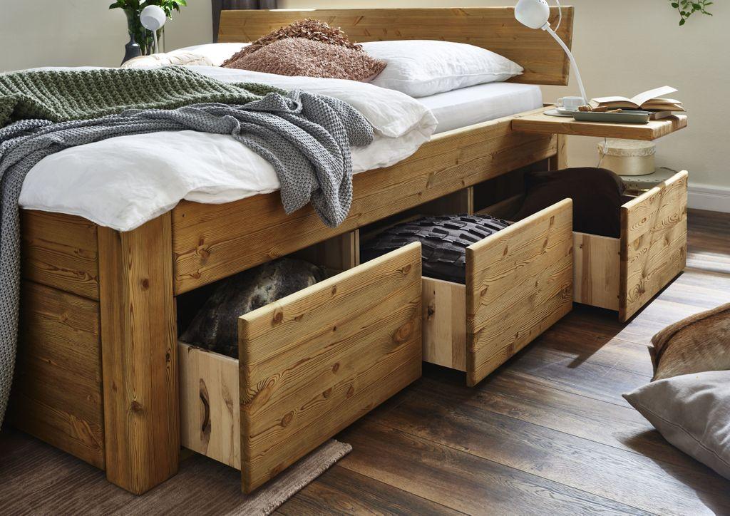 massivholzbett mit 6 schubladen 140x200 54 cm kiefer gel kopfteil 1teilig. Black Bedroom Furniture Sets. Home Design Ideas