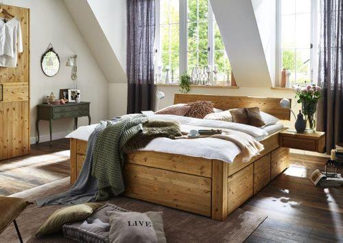 Massivholz Schubladenbett 140x200 Kiefer gel. 54 cm – Bild 1