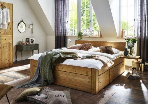 Massivholz Schubladenbett 200x200 Kiefer . 54 cm gel. geölt – Bild 1