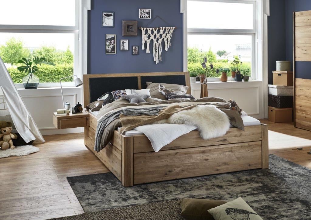 massivholzbett mit 6 schubladen 180x200 54 cm eiche bianco ge lt kopfteil mit polster anthrazit. Black Bedroom Furniture Sets. Home Design Ideas