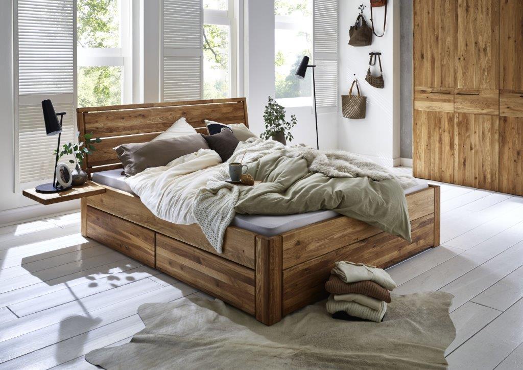Massivholzbett mit 3 Schubladen 160x200 54 cm Eiche geölt Kopfteil 2 ...