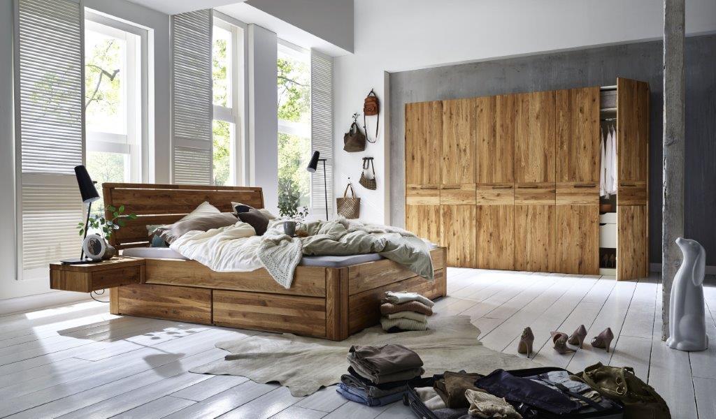 Bett Eiche massiv 160x200 3 Schubkästen – Bild 5