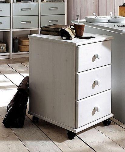 Schreibtisch 125cm mit Rollcontainer Kiefer massiv weiß lackiert – Bild 4