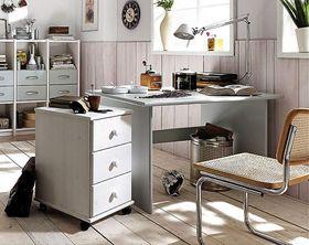 Schreibtisch 160x74x78cm, mit Rollcontainer, Kiefer massiv weiß lackiert