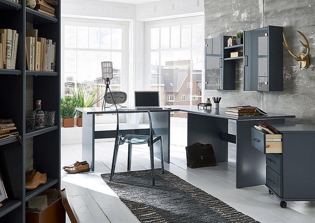 schreibtisch 125x74x78cm kiefer massiv grau lackiert. Black Bedroom Furniture Sets. Home Design Ideas