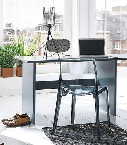 Schreibtisch 125cm Kiefer massiv Bürotisch grau lackiert – Bild 1