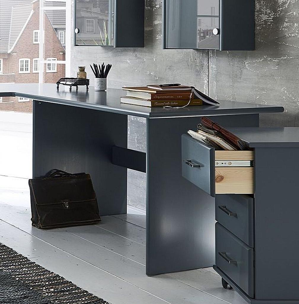 schreibtisch 125x74x78cm mit rollcontainer kiefer massiv grau lackiert. Black Bedroom Furniture Sets. Home Design Ideas