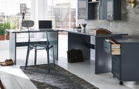 Eck-Schreibtisch 205x74x205cm, Kiefer massiv grau lackiert