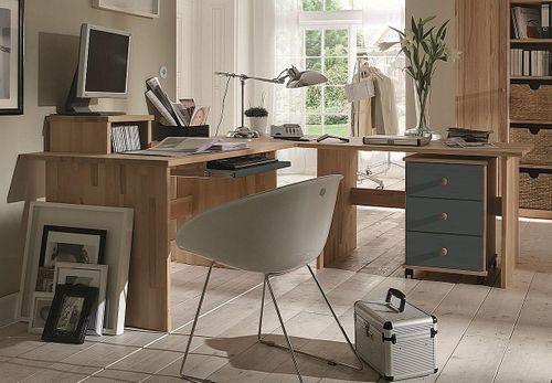 Eck-Schreibtisch Buche massiv Bürotisch geölt grau lackiert – Bild 1
