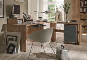 Eck-Schreibtisch 205x74x205cm, Kernbuche massiv geölt / grau lackiert