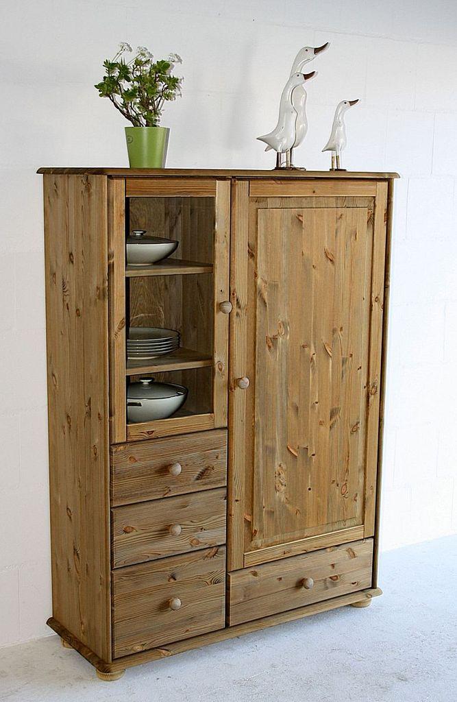 highboard 113x153x42cm 1 glast r 1 holzt r 4 schubladen kiefer massiv. Black Bedroom Furniture Sets. Home Design Ideas