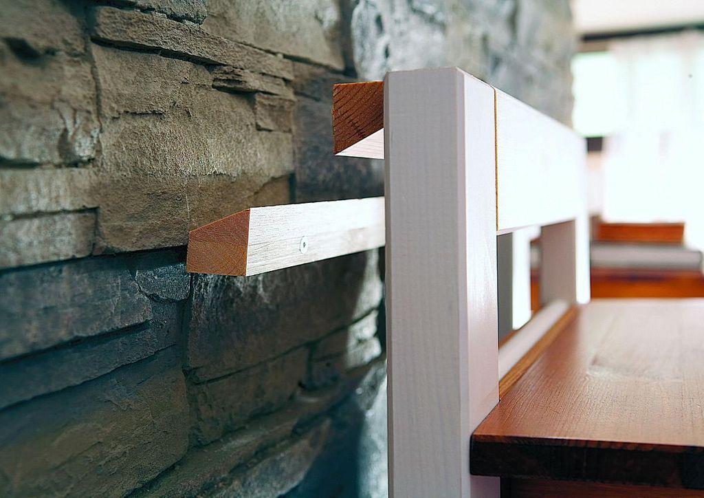 Wandgarderobe Dielenmöbel 8teilig Kiefer 2farbig weiß honig lackiert – Bild 4