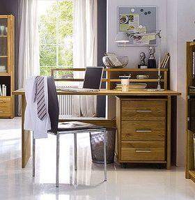 Schreibtisch 125x74x78cm, mit Rollcontainer, Wildeiche massiv geölt