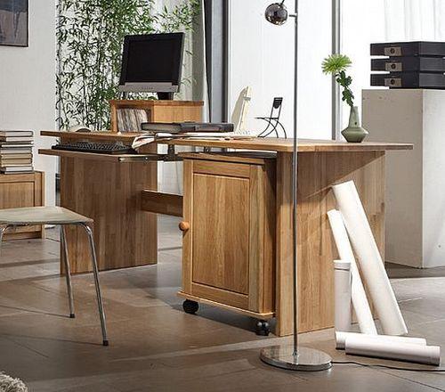 Schreibtisch 125cm mit Rollcontainer Wildeiche massiv geölt – Bild 1