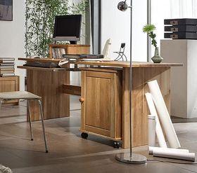 Schreibtisch 160x74x78cm, mit Rollcontainer, Wildeiche massiv geölt