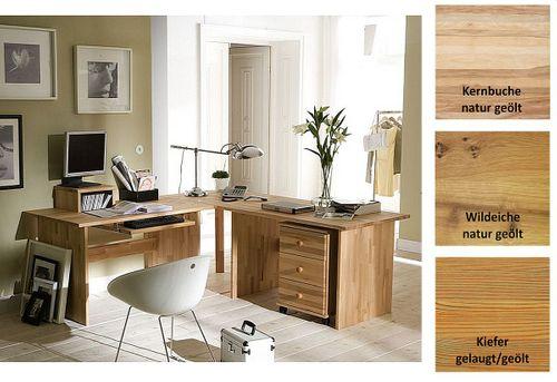 Eck-Schreibtisch CONTRA 205x74x205cm Massivholz Bürotisch geölt – Bild 1