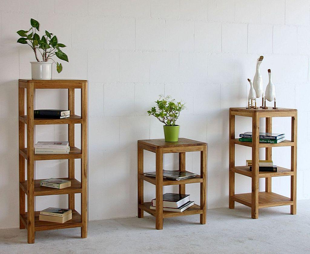 regal 40x106x40cm 2 regalb den wildeiche massiv natur ge lt. Black Bedroom Furniture Sets. Home Design Ideas