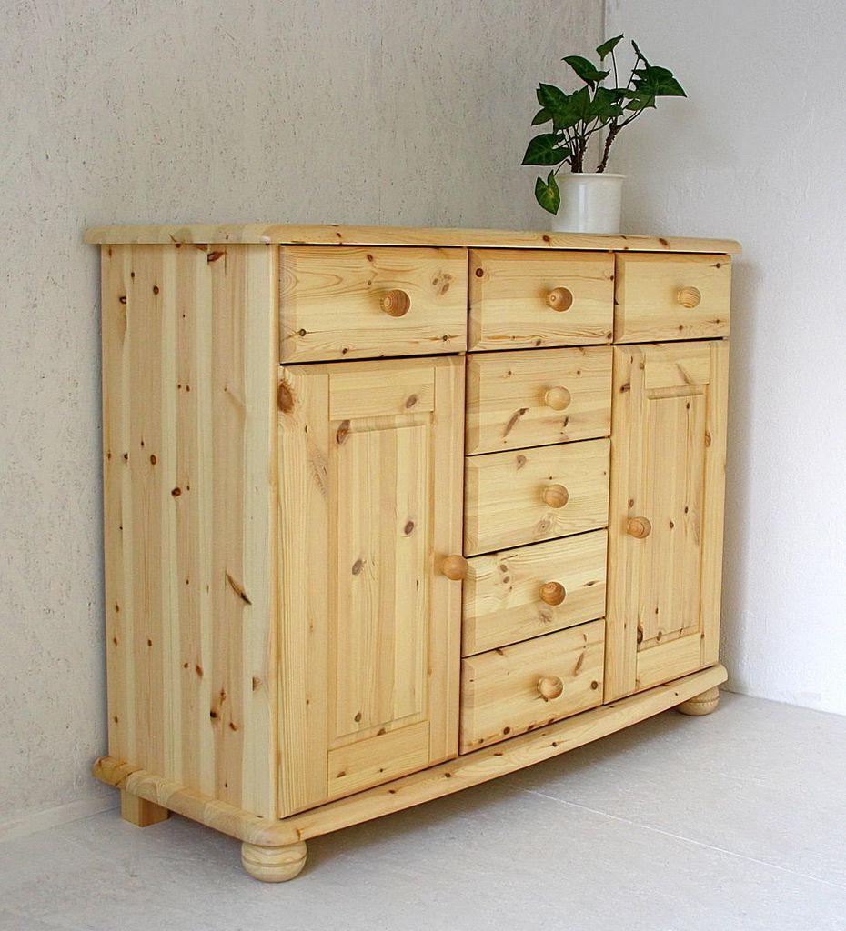 Sideboard 123x93x45cm 2 Türen 7 Schubladen Kiefer Miv Natur