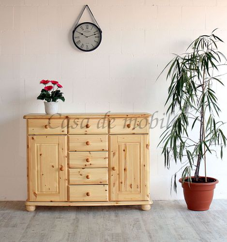 Sideboard Kiefer massiv lackiert Vollholz 7 Schubladen 2 Türen – Bild 5