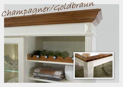 Massivholz Wohnwand 5tlg. Kiefer Champagner Goldbraun Landhausstil – Bild 3