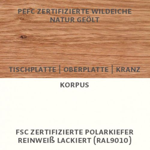Massivholz Konsolentisch 120cm Kiefer creme weiß lackiert – Bild 3