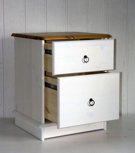 Nachtkommode 2 Schubladen Kiefer massiv 2farbig weiß gelaugt lackiert – Bild 4