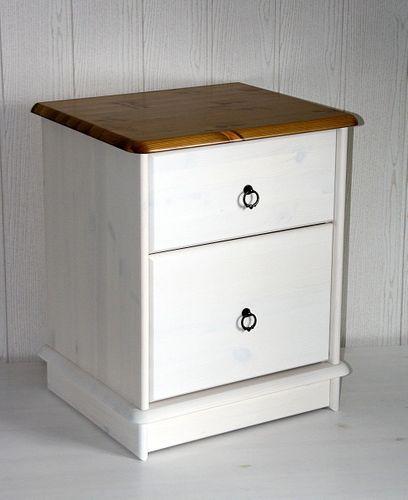 Nachtkommode 2 Schubladen Kiefer massiv 2farbig weiß gelaugt lackiert – Bild 5