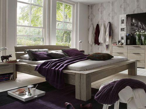 Massivholz Bett 160x200 Balkeneiche White Wash – Bild 1