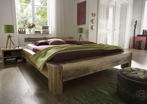 Massivholz Bettgestell 140x200 Balkeneiche geölt – Bild 1