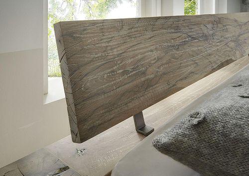 Massivholz Bettgestell 200x200 Balkeneiche White Wash – Bild 2