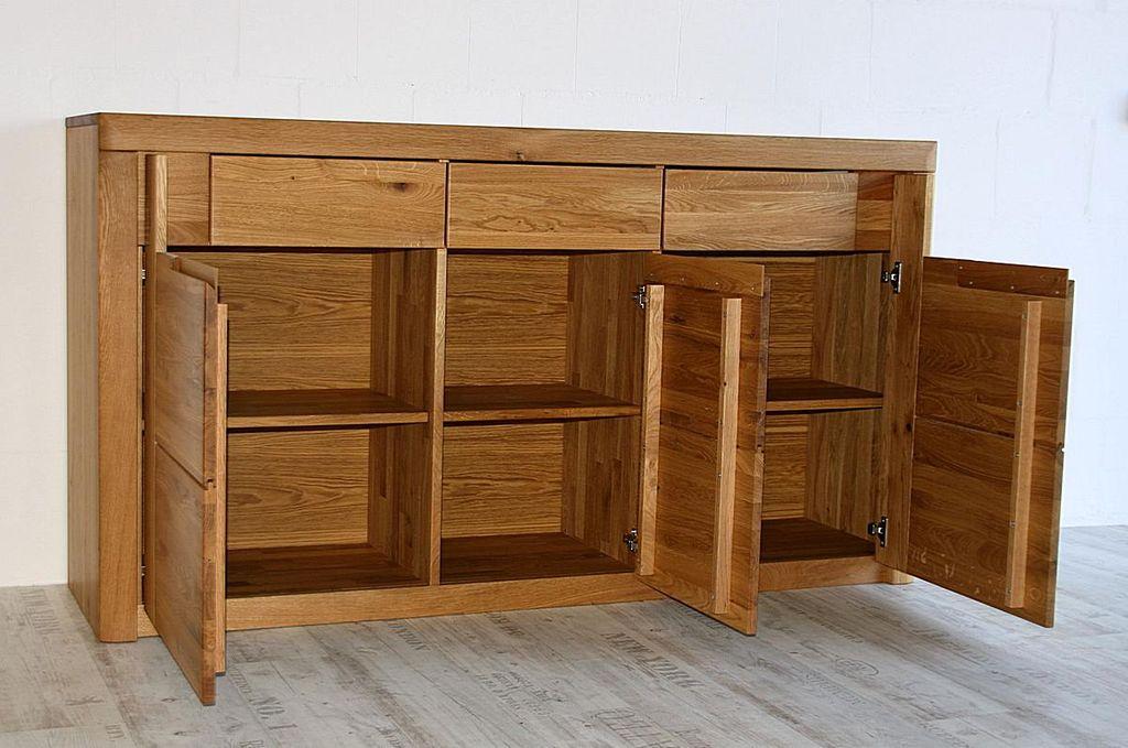 sideboard 173x94x45cm horizont wildeiche massiv natur ge lt. Black Bedroom Furniture Sets. Home Design Ideas