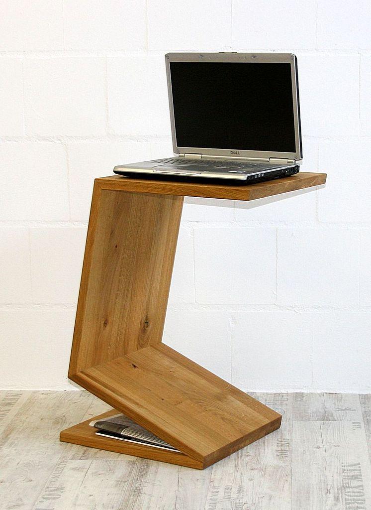 Couchtisch Wildeiche Laptop-Ständer Zeitungsablage Massivholz geölt – Bild 3