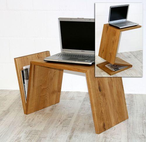 Couchtisch Wildeiche Laptop-Ständer Zeitungsablage Massivholz geölt – Bild 1