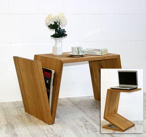 Couchtisch Ureiche Laptop-Ständer Zeitungsablage Massivholz geölt – Bild 1