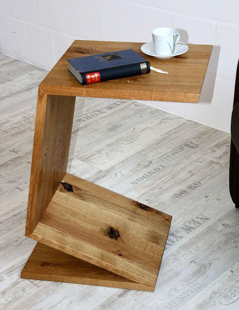 Multi-Tisch FLEXI als Ablage, Beistelltisch, Zeitungsständer - aus Balkeneiche, natur geölt – Bild 6
