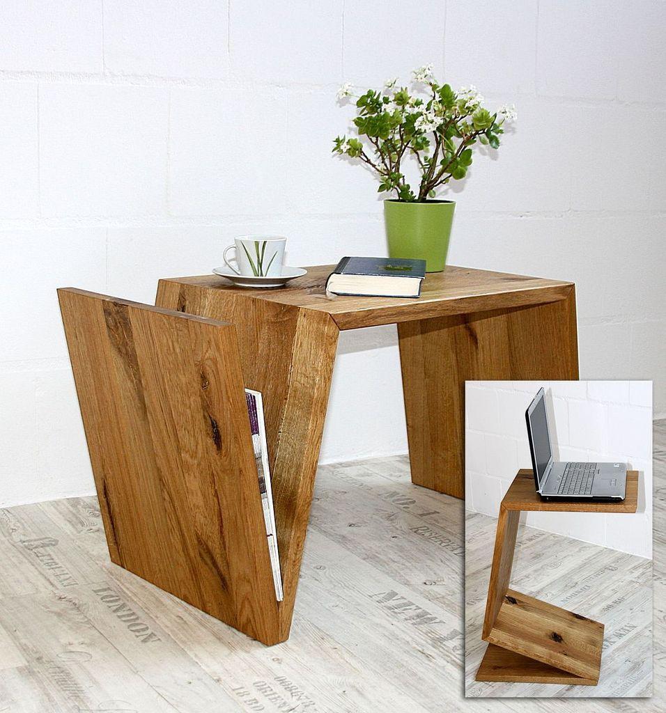 Multi-Tisch FLEXI als Ablage, Beistelltisch, Zeitungsständer - aus Balkeneiche, natur geölt – Bild 1
