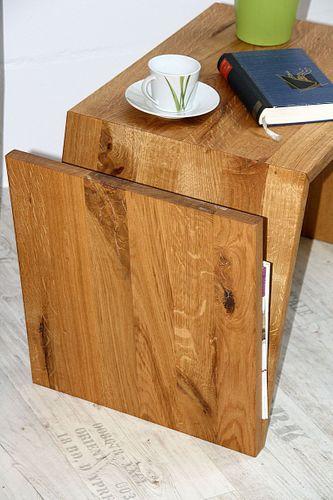 Multi-Tisch FLEXI als Ablage, Beistelltisch, Zeitungsständer - aus Balkeneiche, natur geölt – Bild 10