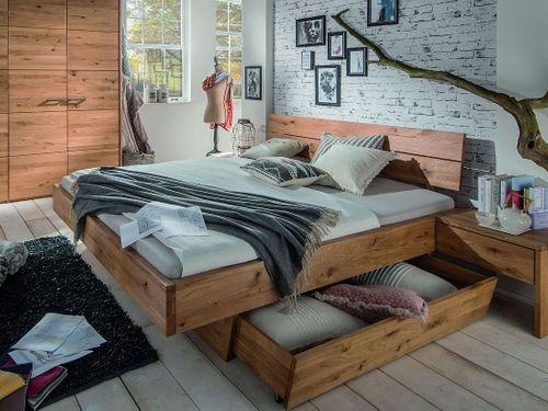 Massivholz Schwebebett mit Schublade 160x200 Wildeiche geölt rustikal – Bild 1