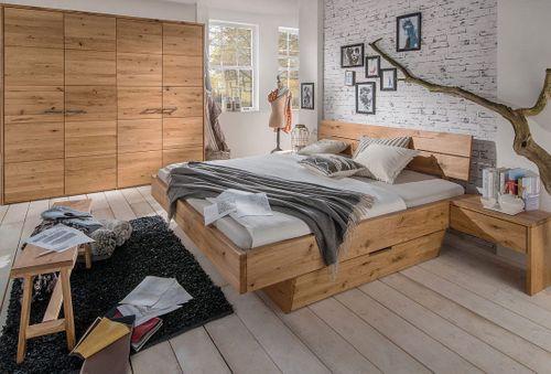 Massivholz Schwebebett mit Schublade 160x200 Wildeiche geölt rustikal – Bild 4