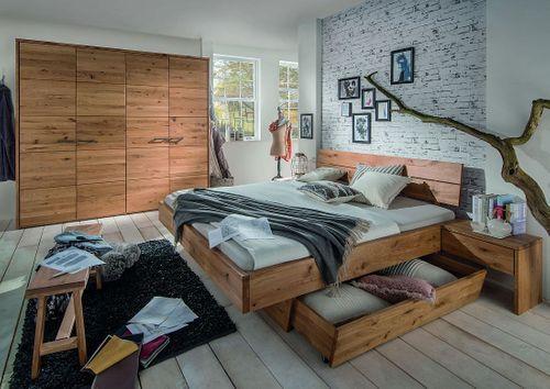 Massivholz Schlafzimmer 2tlg. 160x200 Wildeiche massiv geölt – Bild 1