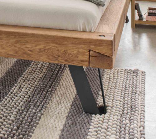 Massivholz Balken-Bett Stahlfuß 140x200 Wildeiche Livos geölt – Bild 2