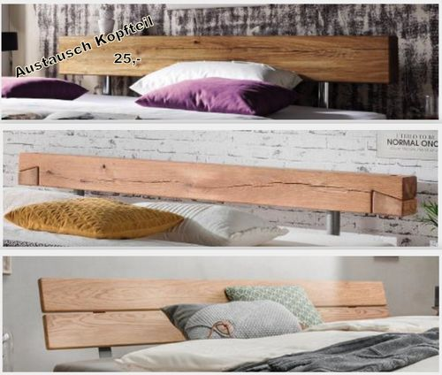 Massivholz Balken-Bett Stahlfuß 180x200 Wildeiche Livos geölt – Bild 3