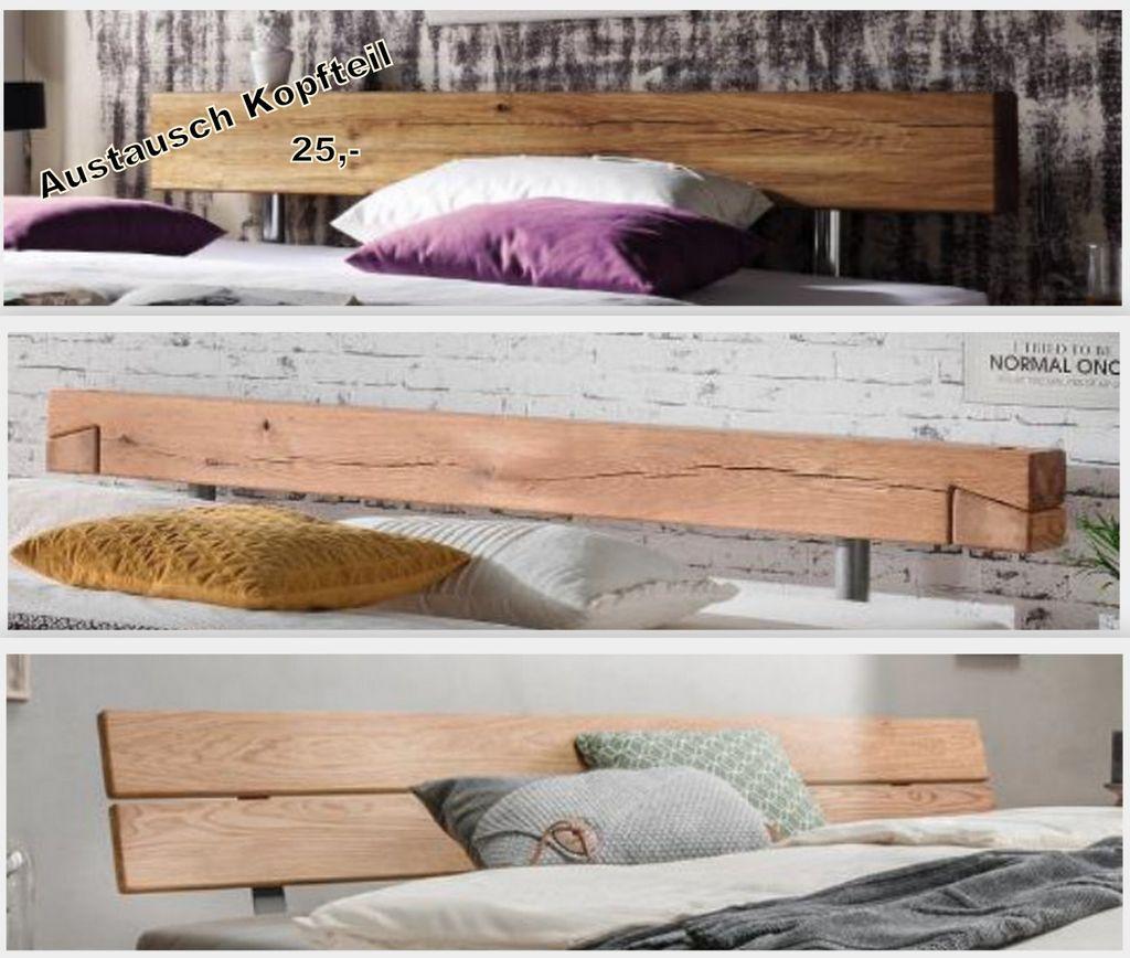 Massivholz Schubladen-Balkenbett 160x200 Wildeiche Livos geölt – Bild 2